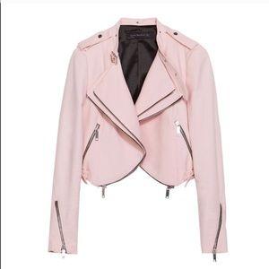 NWT - Zara Cropped Zipper Moto Jacket (in blush)